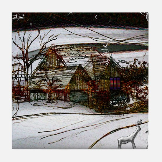 country home Christmas edit Tile Coaster