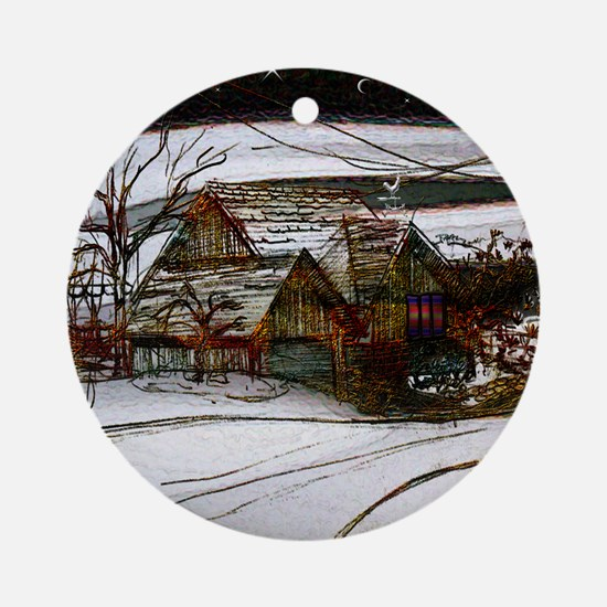 country home Christmas edit Round Ornament