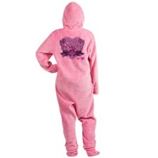 twilight forever purple heart copy Footed Pajamas