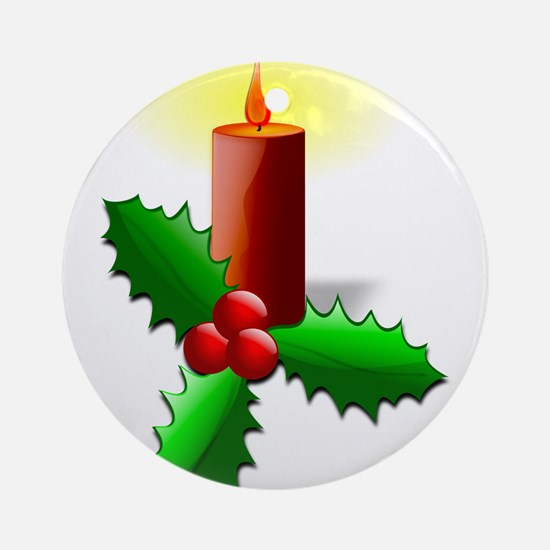 Advent Candle with Holly Ornament (Round)
