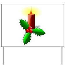 Advent Candle with Holly Yard Sign