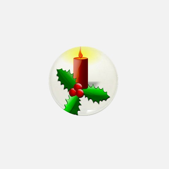 Advent Candle with Holly Mini Button