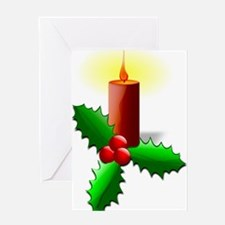 Advent Candle with Holly Greeting Cards