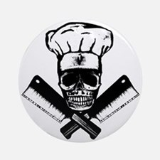Chef_Skull_HCBW Round Ornament
