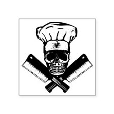 "Chef_Skull_HCBW Square Sticker 3"" x 3"""