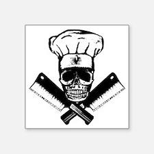"""Chef_Skull_HCBW Square Sticker 3"""" x 3"""""""