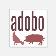 "adobo3brown_CPDark Square Sticker 3"" x 3"""