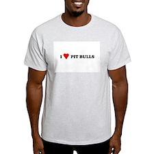 I Love Pit Bulls Ash Grey T-Shirt