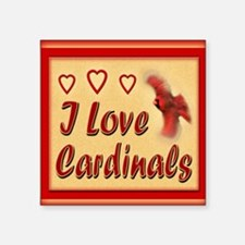 "I Love Cardinals greeting c Square Sticker 3"" x 3"""