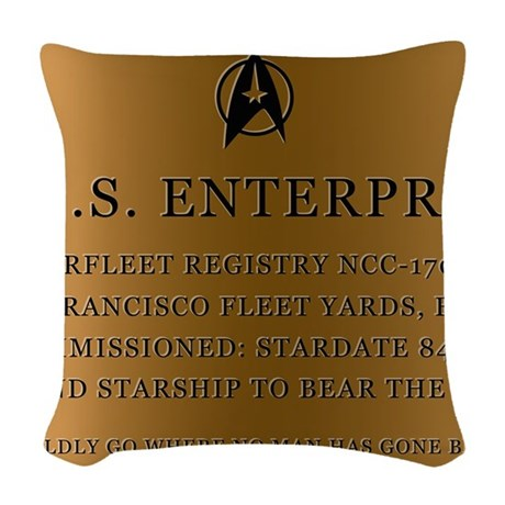 enterpriseplaque04 Woven Throw Pillow