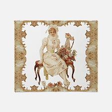 vintag-woman-on-bench_pillow Throw Blanket