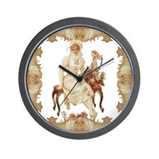 vintag-woman-on-bench_pillow Wall Clock
