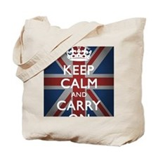 Keep Calm And Carry On (with Union Jack) Tote Bag