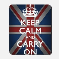 Keep Calm And Carry On (with Union Jack) Mousepad