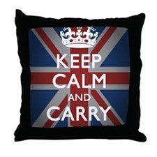 Keep Calm And Carry On (with Union Ja Throw Pillow