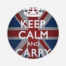 Keep Calm And Carry On (with Union  Round Ornament