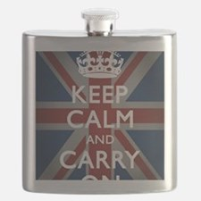 Keep Calm And Carry On (with Union Jack) Flask