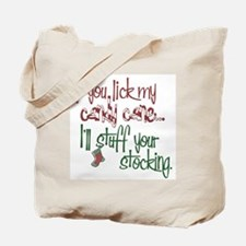 Lick my candy cane2 copy Tote Bag