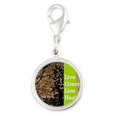 live green calendar Silver Round Charm