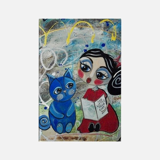 Read to Me - Loralai - Blue Cat S Rectangle Magnet