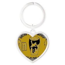 Oval SalMusOn1 GreyTan Heart Keychain