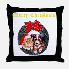 dp-Cat-and-dog-in-wreath Throw Pillow