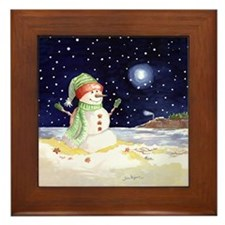 SNOWMANOrnament2 Framed Tile