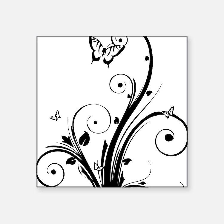 "swirly butterflies Square Sticker 3"" x 3"""