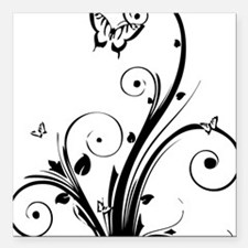 """swirly butterflies Square Car Magnet 3"""" x 3"""""""