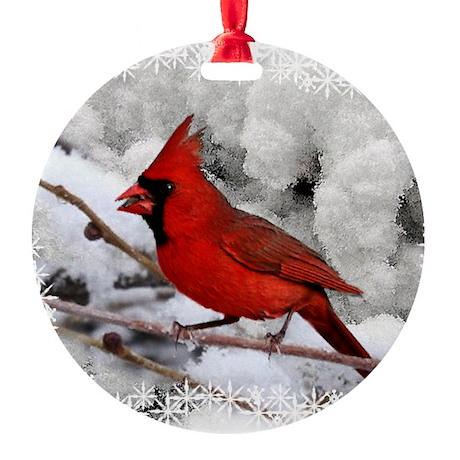 christmascardinal Round Ornament