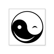 "Winky Yin Yang Square Sticker 3"" x 3"""