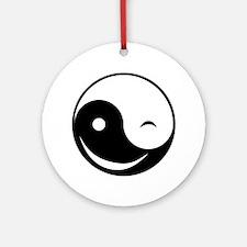 Winky Yin Yang Round Ornament