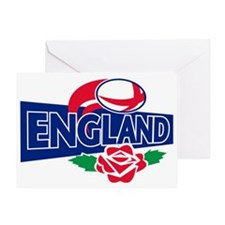 rugby ball england english rose Greeting Card