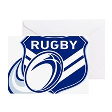 rugby ball flying with shield Greeting Card