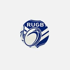 rugby ball flying with shield Mini Button