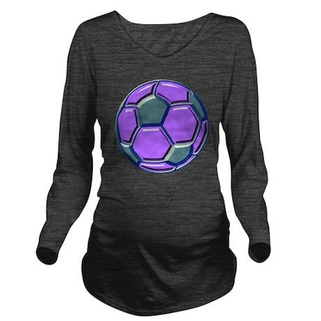 soccer glass bev pur Long Sleeve Maternity T-Shirt