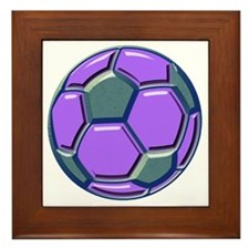 soccer glass bev purp blue Framed Tile