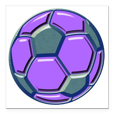 "soccer glass bev purp bl Square Car Magnet 3"" x 3"""