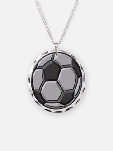 soccer art bevel greyscale 1 Necklace