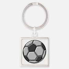 soccer art bevel greyscale 1 Square Keychain
