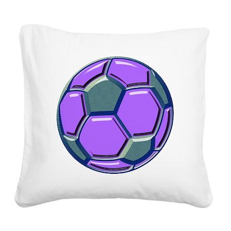 soccer glass bev purp blue Square Canvas Pillow