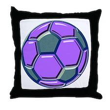 soccer glass bev purp blue Throw Pillow
