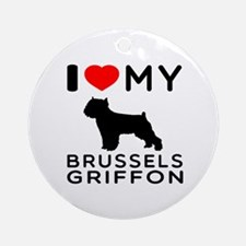 I Love My Brussels Griffon Ornament (Round)