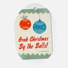 christmasballsshirtblack Oval Ornament