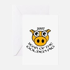YEAR OF THE GOLDEN PIG Greeting Cards (Package of