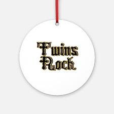 TwinBaby Twins Rock Ornament (Round)