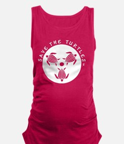 SAVE THE TURTLES WHTIE LOGO DES Maternity Tank Top