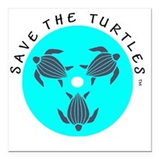 "Save the Turtles Blue Lo Square Car Magnet 3"" x 3"""