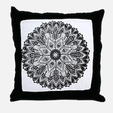 Mandala -BW Throw Pillow