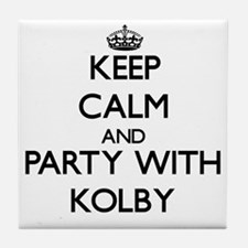 Keep Calm and Party with Kolby Tile Coaster